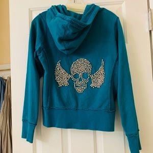 Twisted Heart Diamond Skull Zip-up Sweatshirt S